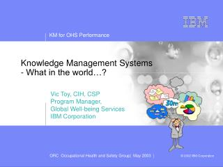 Knowledge Management Systems  - What in the world…?