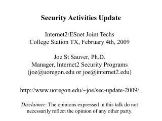 Security Activities Update