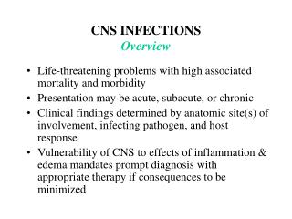 CNS INFECTIONS Overview