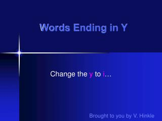 Words Ending in Y