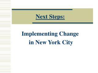 Next Steps: Implementing Change  in New York City