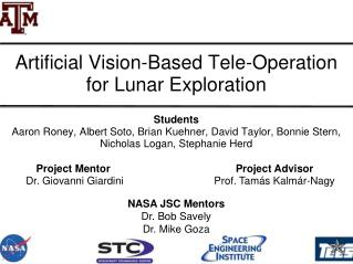Artificial Vision-Based Tele-Operation for Lunar Exploration
