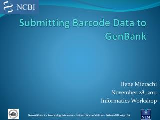 Submitting  Barcode Data to  GenBank