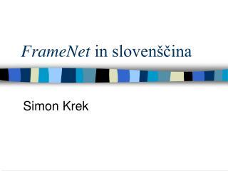 FrameNet  in slovenščina