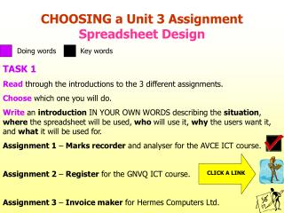 CHOOSING a Unit 3 Assignment Spreadsheet Design