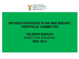 REVISED STRATEGIC PLAN AND BUDGET PORTFOLIO COMMITTEE  VELISWA BADUZA DIRECTOR-GENERAL MAY 2013