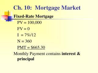 Ch. 10:  Mortgage Market