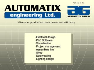 Electrical design PLC Software Visualization Project management Assembley line Shop Safety rating