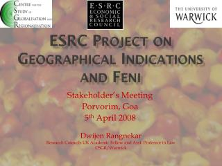 ESRC Project on Geographical Indications and  Feni