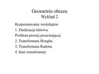 Geometria obrazu Wykład 2
