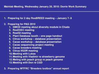 Mainlab Meeting, Wednesday January 20, 2010: Dorrie Work Summary