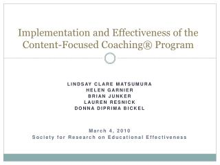 Implementation and Effectiveness of the Content-Focused Coaching  Program