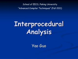 Interprocedural Analysis