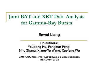 Joint BAT and XRT Data Analysis for Gamma-Ray Bursts