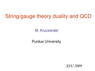String/gauge theory duality and QCD