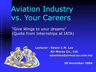 Aviation Industry vs. Your Careers