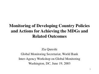 Monitoring of Developing Country Policies and Actions for Achieving the MDGs and Related Outcomes