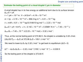 Droplet size and boiling point