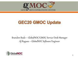 Brandon Beale – GlobalNOC/GMOC Service Desk Manager AJ Ragusa – GlobalNOC Software Engineer