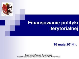 Finansowanie polityki terytorialnej