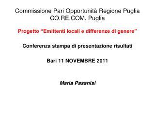 Commissione Pari Opportunità Regione Puglia CO.RE.COM. Puglia