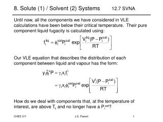 8. Solute (1) / Solvent (2) Systems   12.7 SVNA