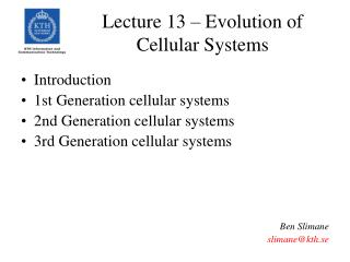 Lecture 13 – Evolution of Cellular Systems