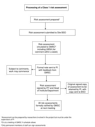 Processing of a Class 1 risk assessment