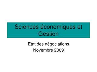 Sciences économiques et Gestion