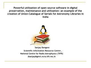 Sanjay Dongare     Scientific Information Resource Centre ,