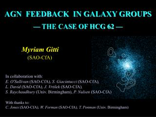 AGN  FEEDBACK  IN GALAXY GROUPS  — THE CASE OF HCG 62 —