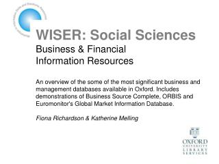 WISER: Social Sciences Business & Financial  Information Resources