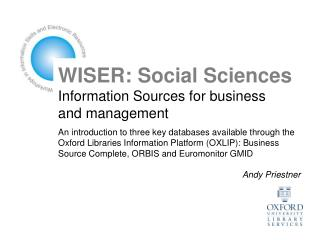 WISER: Social Sciences Information Sources for business and management