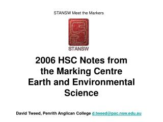 2006 HSC Notes from the Marking Centre Earth and Environmental Science