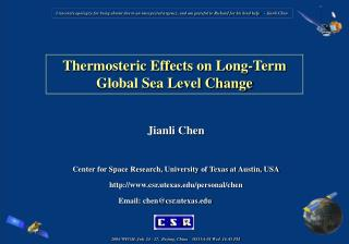 Thermosteric Effects on Long-Term Global Sea Level Change