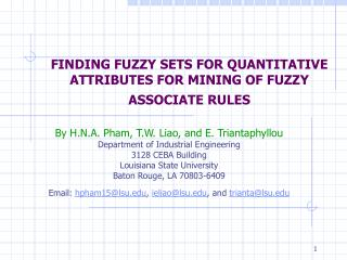 FINDING FUZZY SETS FOR QUANTITATIVE ATTRIBUTES FOR MINING OF FUZZY ASSOCIATE RULES