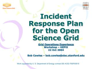 Incident Response Plan for the Open Science Grid