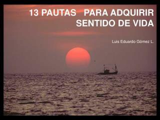 13 PAUTAS   PARA ADQUIRIR  SENTIDO DE VIDA Luis Eduardo Gómez L.
