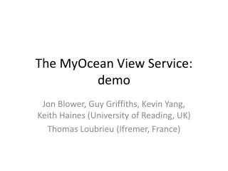 The MyOcean View Service: demo