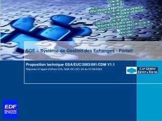 SGE – Système de Gestion des Echanges - Portail