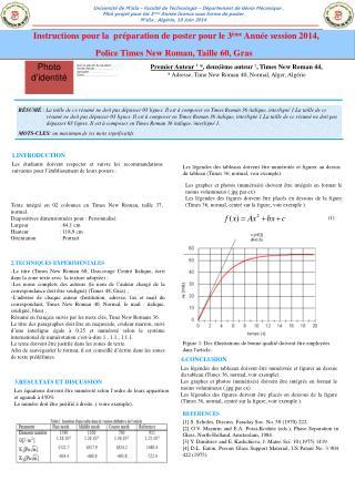 Instructions pour la  préparation de poster pour le 3 ème  Année session 2014,