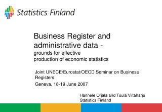 Business Register and administrative data - grounds for effective  production of economic statistics
