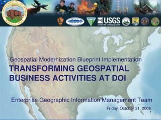 Transforming Geospatial Business Activities at DOI