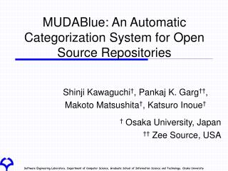MUDABlue: An Automatic Categorization System for Open Source Repositories
