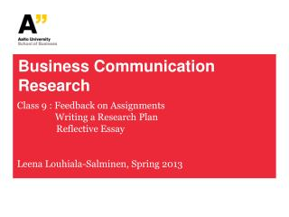 Business Communication Research