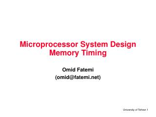 Microprocessor System Design Memory Timing