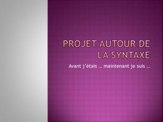 Projet autour de la syntaxe