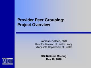 Provider Peer Grouping:  Project Overview