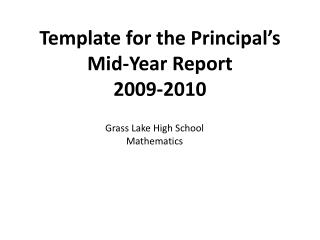 Template for the Principal's Mid-Year Report 2009-2010