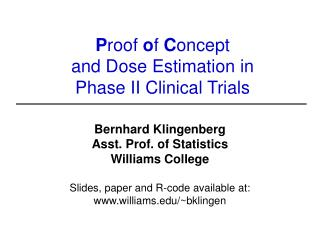 P roof  o f  C oncept  and Dose Estimation in  Phase II Clinical Trials